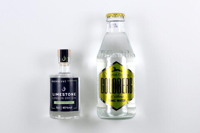 BRENNLUST Gint & Tonic Geschenk Set, LIMESTONE Gin Green Edition 5 cl + Goldberg Tonic Water 20 cl