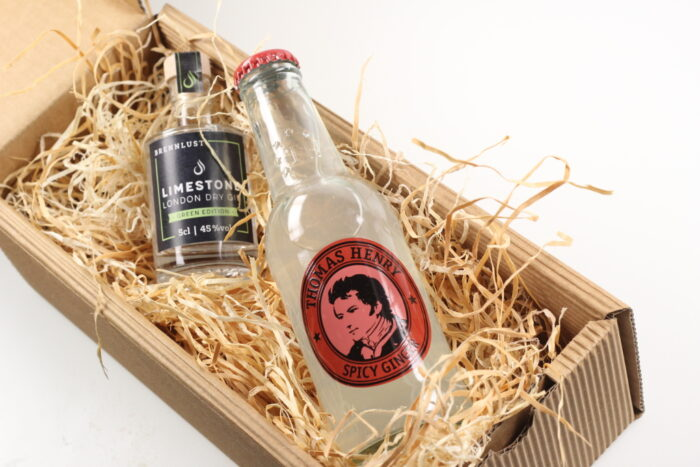 BRENNLUST Gint & Tonic Geschenk Set, LIMESTONE Gin Green Edition 5 cl + Thomas Henry Spicy Ginger 20 cl