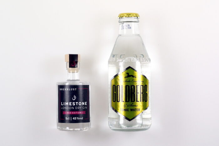 BRENNLUST Gint & Tonic Geschenk Set, LIMESTONE Gin Red Edition 5 cl + Goldberg Tonic Water 20 cl