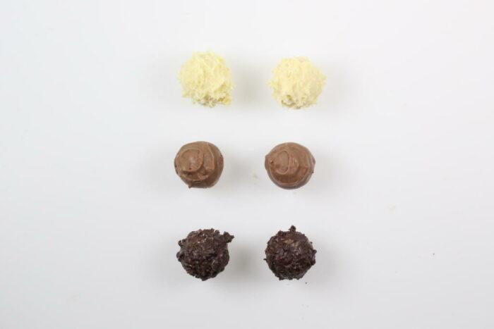 6 Stück Brennlust Trüffel mit Destillaten: Zartbitter, Vollmilch und Weiße Schokolade
