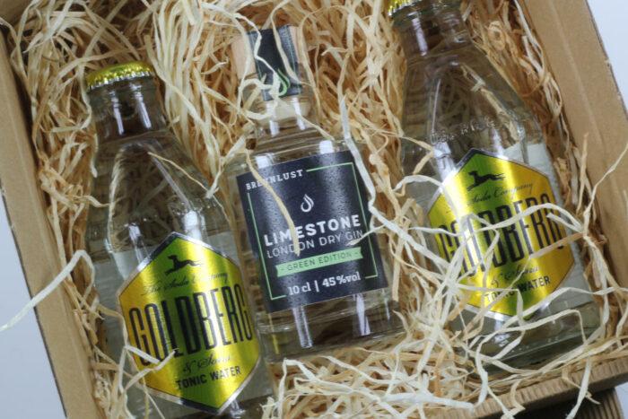 Geschenkset: Brennlust Gin Mini 10 cl und 2 x Goldberg Tonic Water