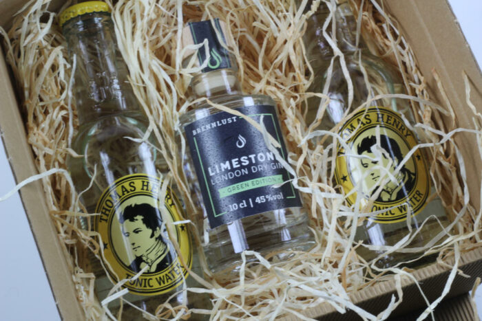 Geschenkset: Brennlust Gin Mini 10 cl und 2 x Thomas Henry Tonic Water