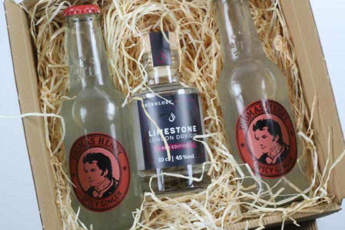 Geschenkset: Brennlust Gin Mini 10 cl und 2 x Thomas Henry Spicy Ginger