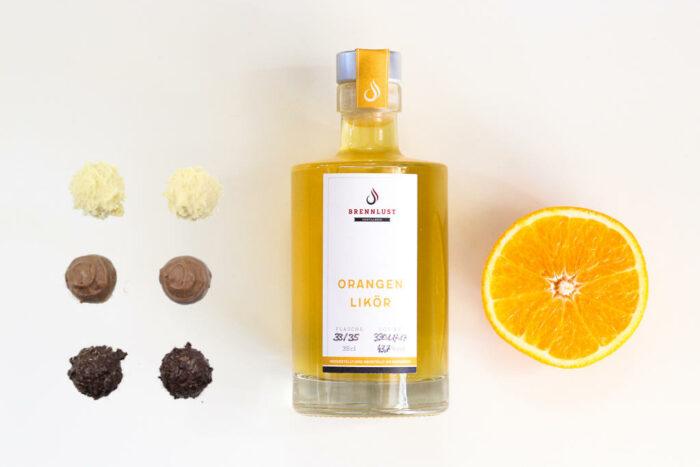 Geschenkset Orangen Likör 35 cl und 6 Trüffel