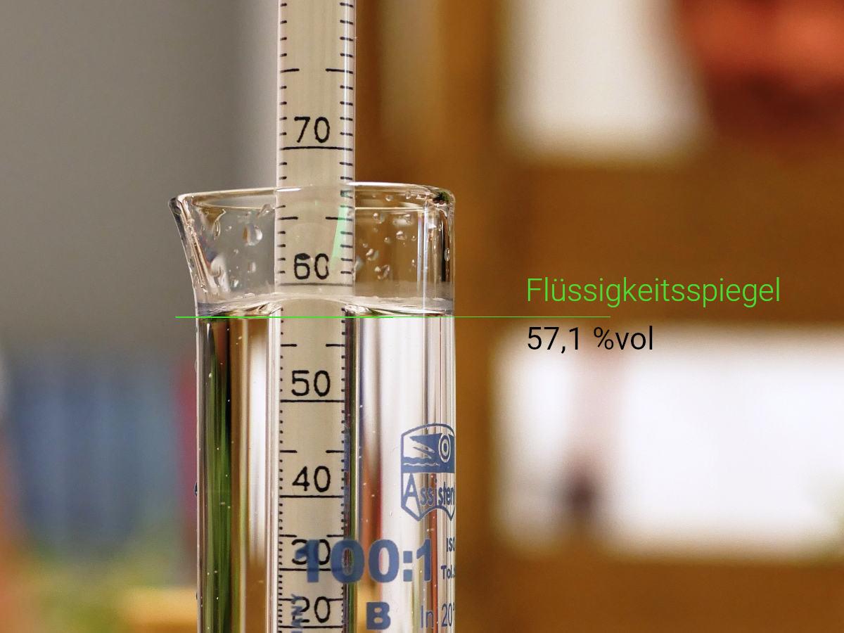 Alkoholgehalt messen: Spindeln mit dem Alkoholmeter